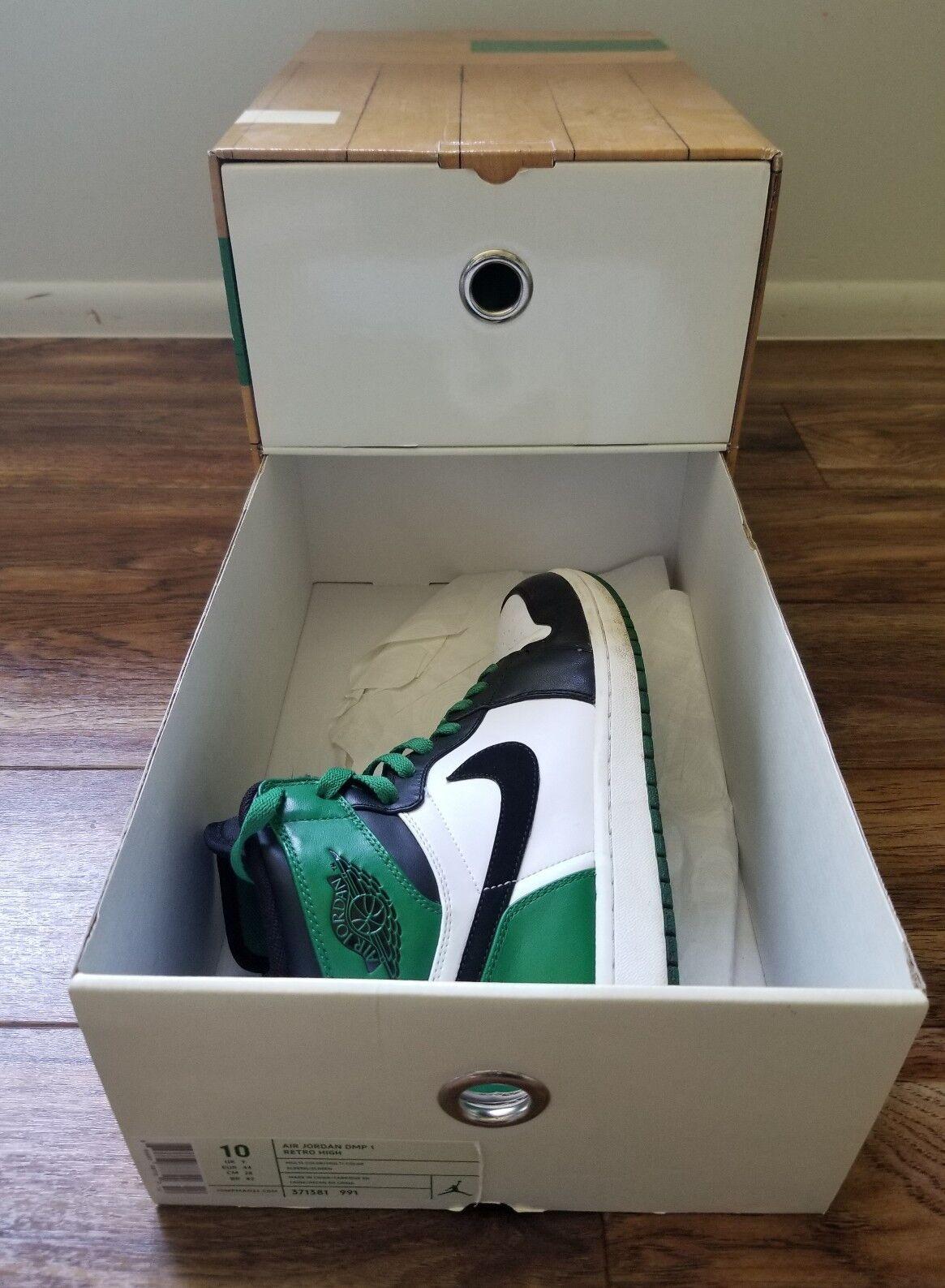 Air Jordan DMP 1 Retro High (Black/Green/White) Men's Sz 10 With Box Celtics