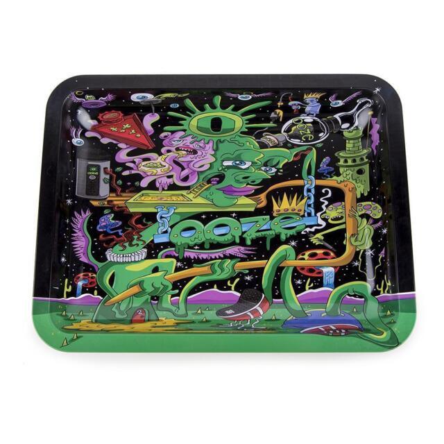 OOZE Black Factory Design - 1 TRAY - Alien Green - Metal Rolling 7 x 5 Mini