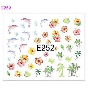 Nail-Art-Pegatinas-Transferencias-de-calcomanias-de-Agua-Verano-palmeras-delfines-Flores-E252