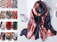 "100/% Silk Satin Women Scarf 66x20/"" Shawl Wrap Geometric pink blue black S343-010"