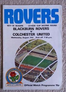 Blackburn Rovers v Colchester Utd Football programme Lge Cup 2nd round 31877 - Colchester, United Kingdom - Blackburn Rovers v Colchester Utd Football programme Lge Cup 2nd round 31877 - Colchester, United Kingdom