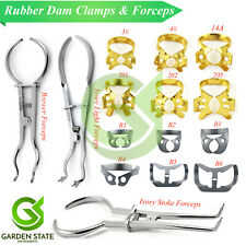 Rubber Dam Instruments Set Brewer Forceps Ivory Endodontic Winged Brinker Clamps