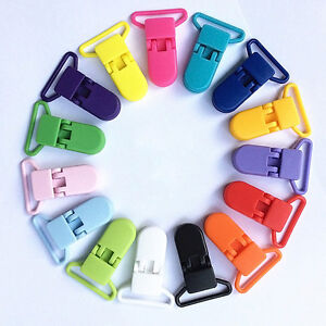 10 Plastic KAM Pacifier Dummy CLIPS Clear Soother Badge Suspender