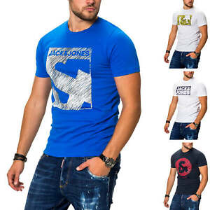 Jack-amp-Jones-T-Shirt-Hommes-Print-Shirt-manches-courtes-Shirt-Casual-Streetwear-Top