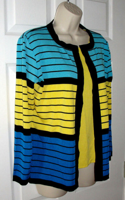 Misook Petite Striped Sweater Tank Fits S Long Sleeve Cardigan Black