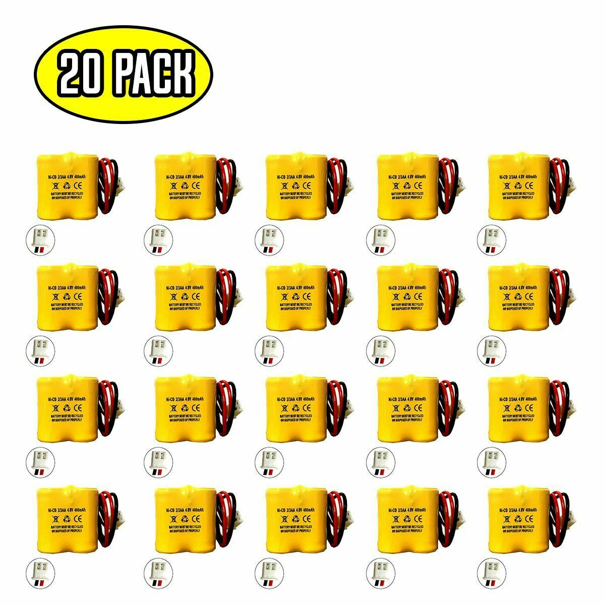 (20 pack) 4.8v 400mAh Ni-CD Battery Pack Replacement for Emergency / Exit Light