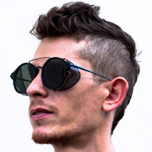 Retro Metal Hipster Side Shield Steampunk Round Style Coating Mirror Sunglasses