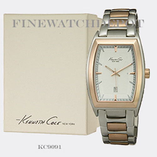 Authentic Kenneth Cole Men's Stainless Steel Two Tone Rose Gold Watch KC9091