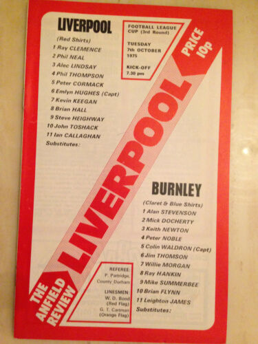 1975/76 LEAGUE CUP: LIVERPOOL v BURNLEY - 3rd Round. 1975