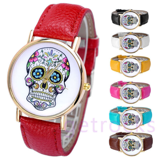 Women's Fashion Sugar Skull Dial Quartz Analog Wrist Watches Faux Leather Band