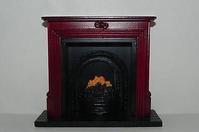 Dollhouse Fireplace Faux Mahogany Wood Mantel 1:12 Scale