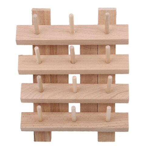 DIY Manual Beech Sewing Thread Stand Organizer Craft Embroidery Storage Rack CB