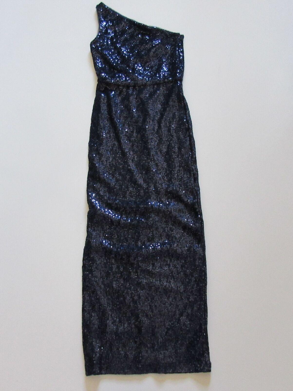 NWT Lauren Ralph Lauren Lighthouse Navy Shine Sequin One Shoulder Gown Dress 2