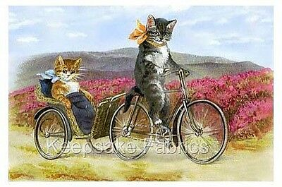 Sweet Cats Bicycle Ride For Two Quilt Block Multi Sizes FrEE ShiPPinG WoRld WiDE