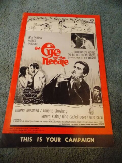 EYE OF THE NEEDLE(1963)VITTORIO GASSMAN ORIGINAL PRESSBOOK