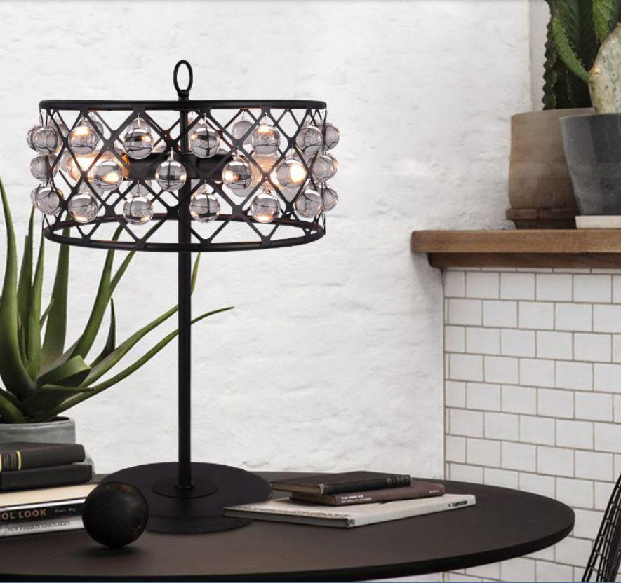 European 3Lights Height 66CM Iron Art+Crystal Push Button Switch Table Lamp