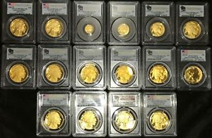 2006-to-2008-to-2018-Gold-Buffalo-proof-set-PCGS-PR70-FS-17-coins-all-perfect