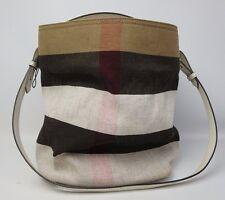 Burberry Brit Medium Susanna Canvas Check Bucket Bag Tote Handbag White