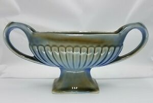Vintage-Wade-Irish-Porcelain-Vase-Planter-Jardiniere-2-Handle-Blue-Green