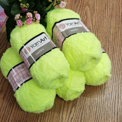 5 x 100g YarnArt Happy Chunky Fluffy Sparkly Teddy Knitting Yarn neon yellow