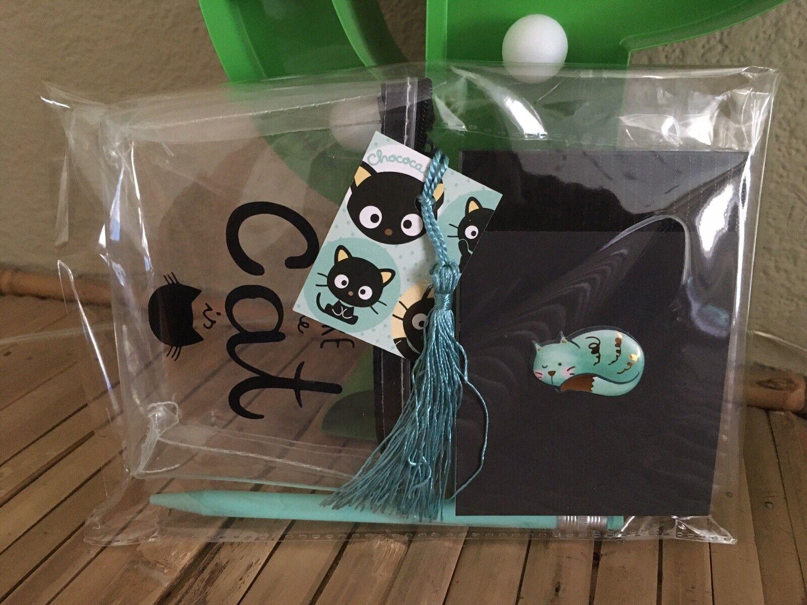 Retro Kitty Kitsch Blue Black Cat Notebook +Sheer PU Purse +pencil 3pc Gift Set