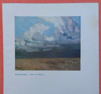 Vornehm Gewitterwolken Steppe Wilhelm Kuhnert Afrika Farbdruck 1920 N. Ölskizze