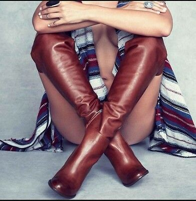 6f28cd2d4736 Sam Edelman Rylan Over the Knee Heel Boots Rust Leather Size 9 NEW