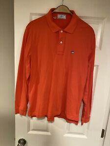Southern-Tide-The-SkipJack-Polo-Shirt-Long-Sleeve-Men-Size-M-Red-Magenta-Logo
