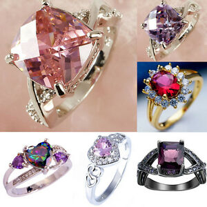 Women-pink-Amethyst-Zircon-Crystal-Rhinestone-white-gold-filled-Ring-Jewelry
