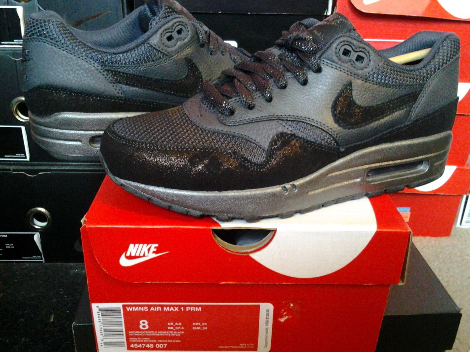 Womens Nike Nike Nike Air Max 1 Premium PRM Anthracite Metallic Hematite Black 454746 007 c9946a