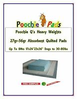 5x Poochie Q's Heavy Quilted Puppy Training Pads 3-sizes Dogs To 30-80lbs