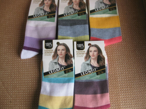 Sizes 3-5 or 5-7 Ladies//Girls cotton socks by Leonfit wide stripes