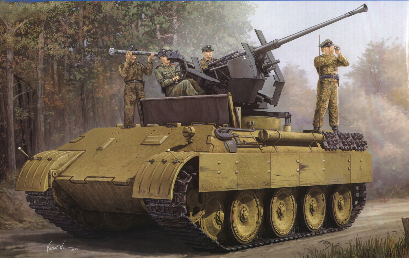 1 35 WWII German Panther Ausf.D Flak Bergepanther Flak Tank Plastic Model Kit