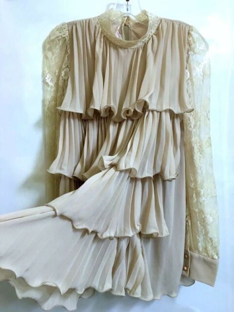Vintage Victoria Queen Lace Layered Ruffle Tunic Blouse Top Custom S/M Tan Nude