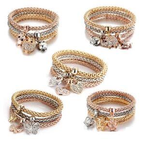 3pcs-Set-Animal-Elephant-Crown-Crystal-Love-Heart-Bracelet-Bangle-Women-Jewelry