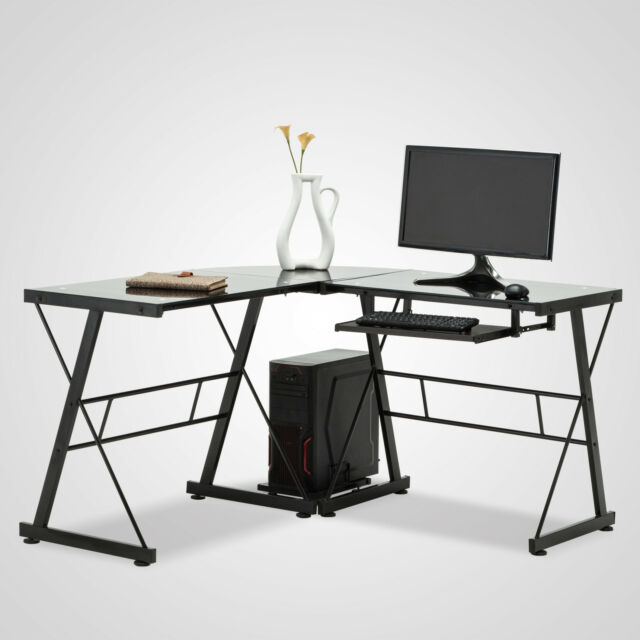 Delicieux Black L Shape Glass Corner Computer Desk Laptop PC Table Workstation Home  Office For Sale Online
