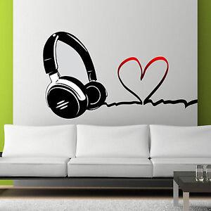 Full Colour Love Music Dj Headphones Wall Art Sticker