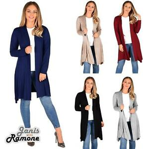 New-Womens-Open-Front-Knee-Length-Plain-Cardigan-Long-Sleeve-Party-Casual-Top