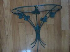 Home Interior wall decor green wire w leaves 1/2 moon glass shelf 14.5