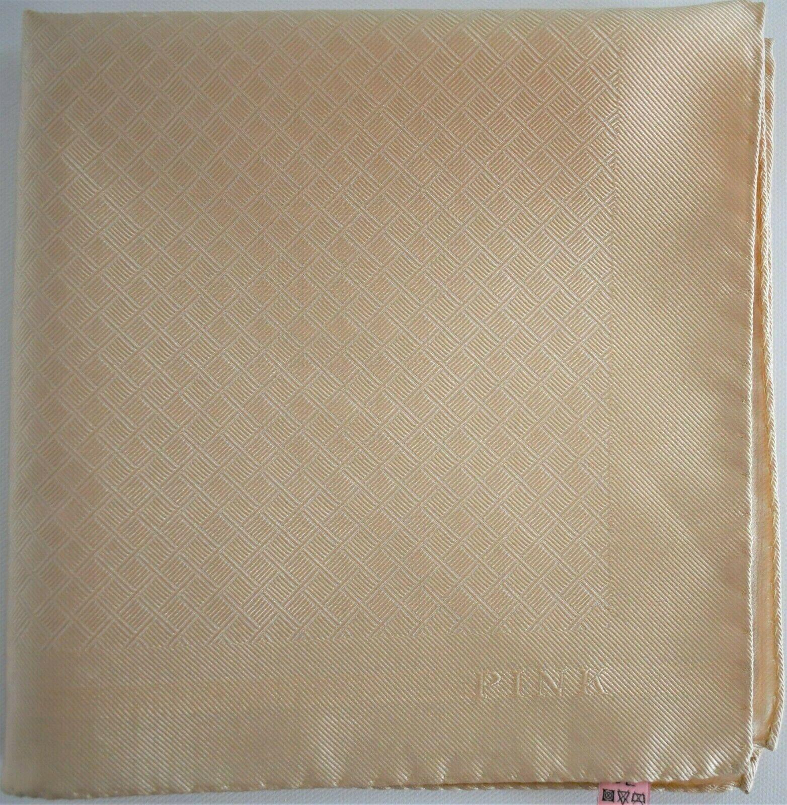 New THOMAS PINK Cream 100% SILK Woven Pocket Square Handkerchief ITALY