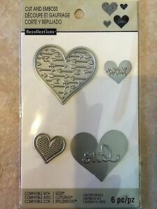 NEW Recollections Cut And Emboss 508076 Mix Heart 7 Cutting Dies