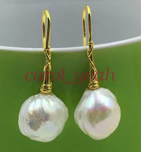 Natural 13-14MM baroque south sea pearl earrings 18K GOLD HUGE AAA white