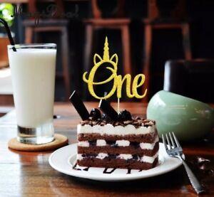 Image Is Loading One 1st Birthday Age 1 Gold Unicorn Cake