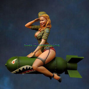 NEW-Resin-Woman-Soldier-Sit-On-Guided-missile-Figure-Model-Unpainted-Garage-Kits