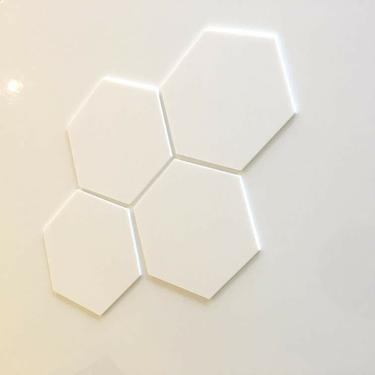 Hexagonal Acrylic Wall Tiles - Weiß