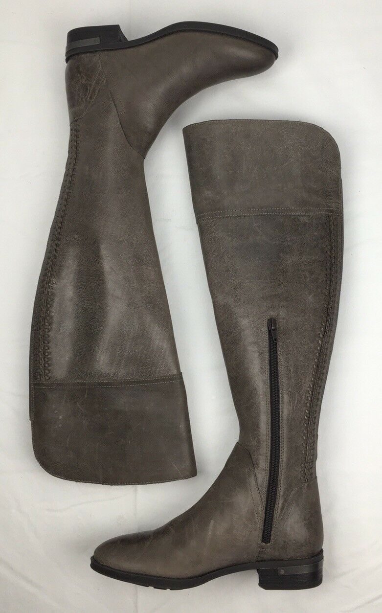 WOMENS VINCE CAMUTO BOOTS Pedra Over The Knee Leather Taupe Riding Boot 6 M