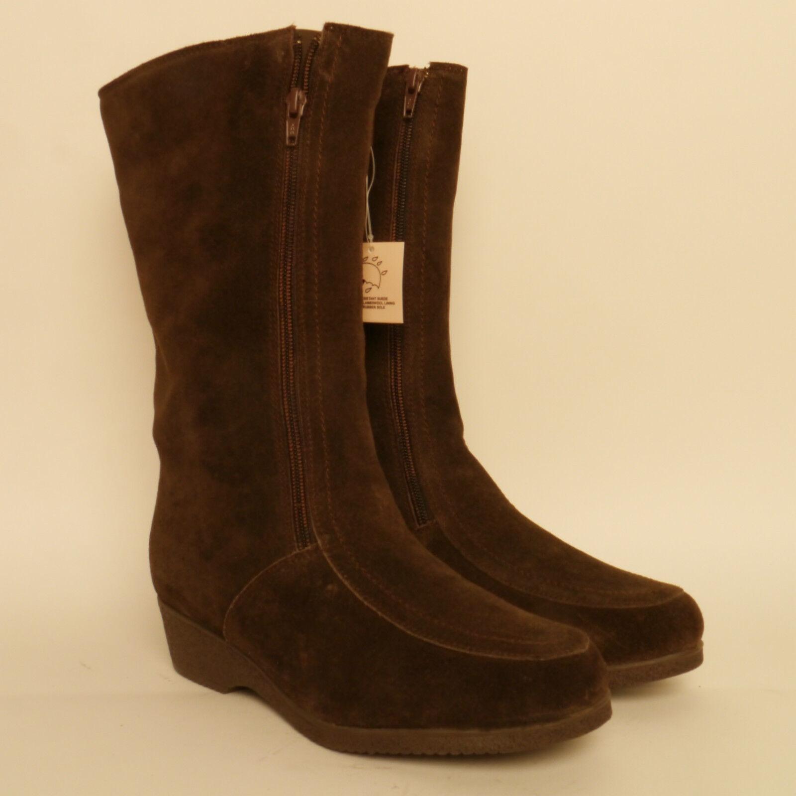 Zapatos especiales con descuento Draper Of Glastonbury High Brown Suede Boots Sheepskin Lined Bargain 59.99