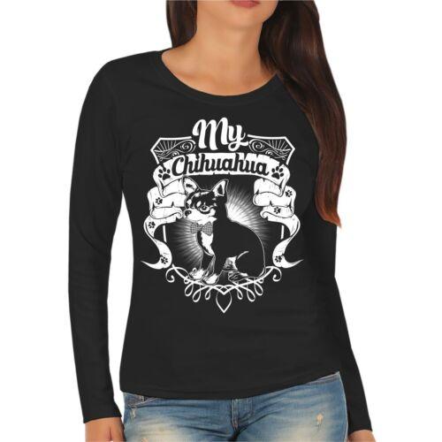 Frauen Damen Langarm Shirt My Chihuahua Dogs Rasse Hunde Welpe Gr XS 2XL