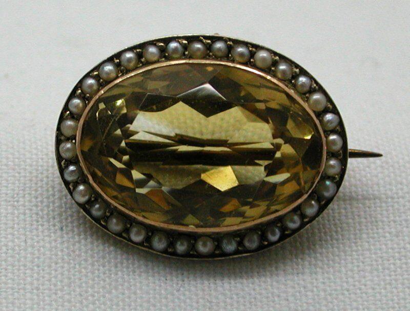 BELLA antica oro 9 CARATI GRANDI CITRINO E Perla Perla Perla Spilla 6bd56c