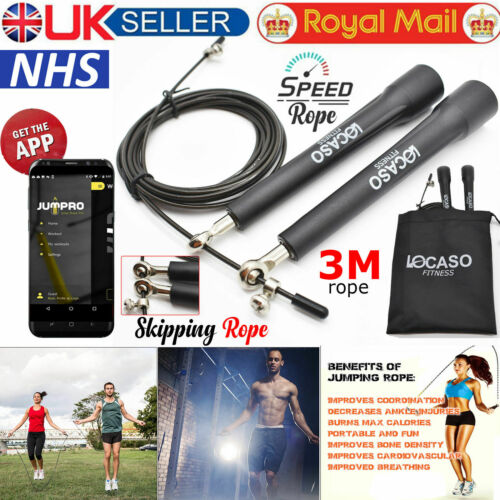 3M Adjustable Skipping Rope Steel Cable Speed Fitness Exercise Crossfit Boxing.